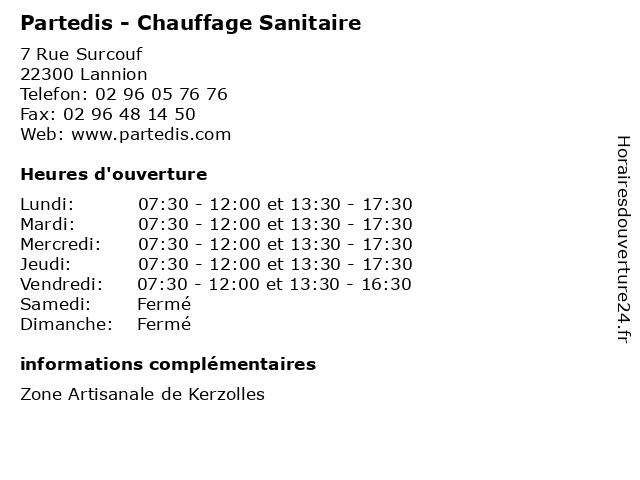 Partedis - Chauffage Sanitaire à Lannion: adresse et heures d'ouverture