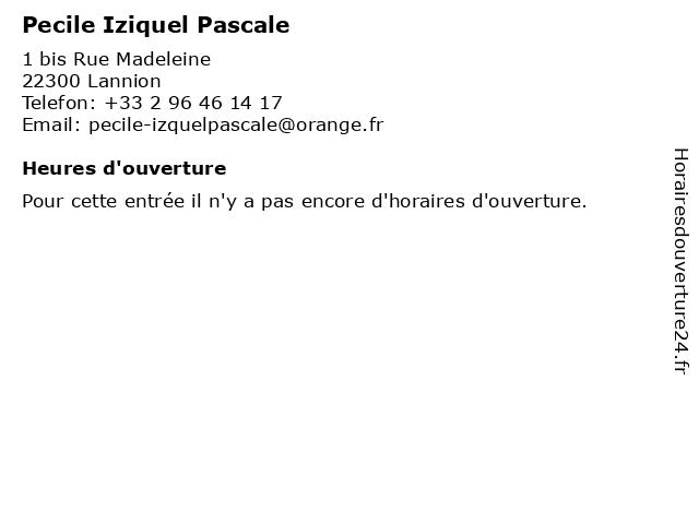 Pecile Iziquel Pascale à Lannion: adresse et heures d'ouverture