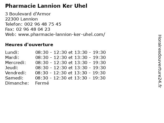 Pharmacie Lannion Ker Uhel à Lannion: adresse et heures d'ouverture