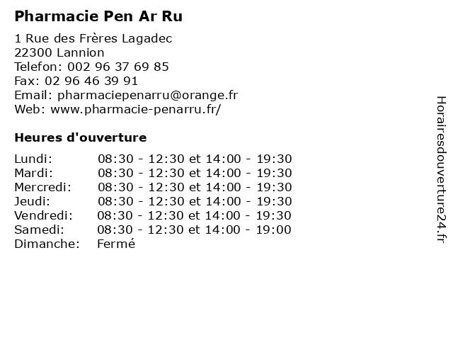 Pharmacie Pen Ar Ru à Lannion: adresse et heures d'ouverture