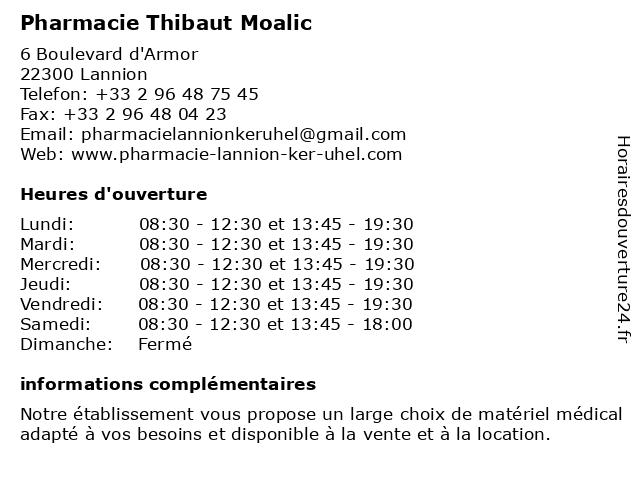 Pharmacie Thibaut Moalic à Lannion: adresse et heures d'ouverture