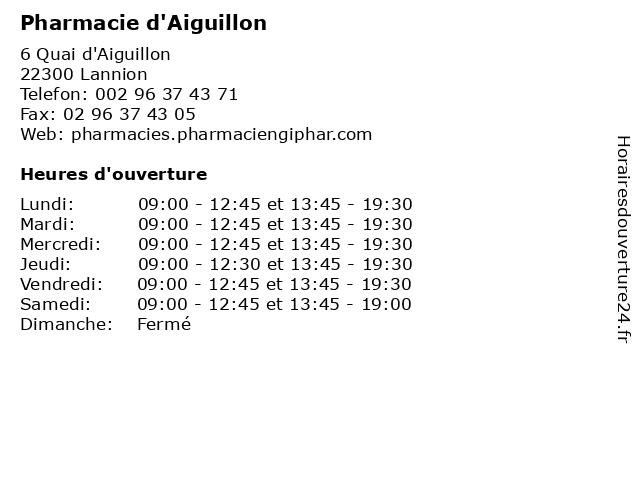 Pharmacie d'Aiguillon à Lannion: adresse et heures d'ouverture