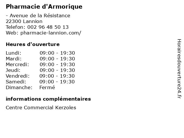 Pharmacie d'Armorique à Lannion: adresse et heures d'ouverture