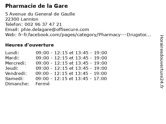 Pharmacie de la Gare à Lannion: adresse et heures d'ouverture