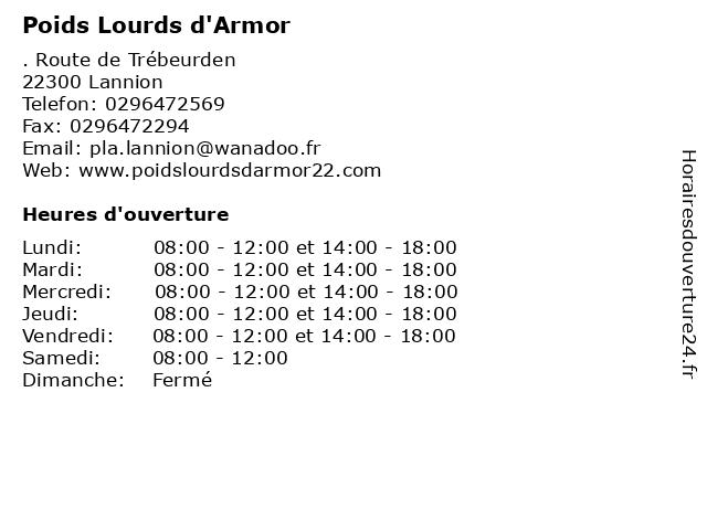Poids Lourds d'Armor à Lannion: adresse et heures d'ouverture