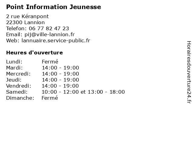 Point Information Jeunesse à Lannion: adresse et heures d'ouverture
