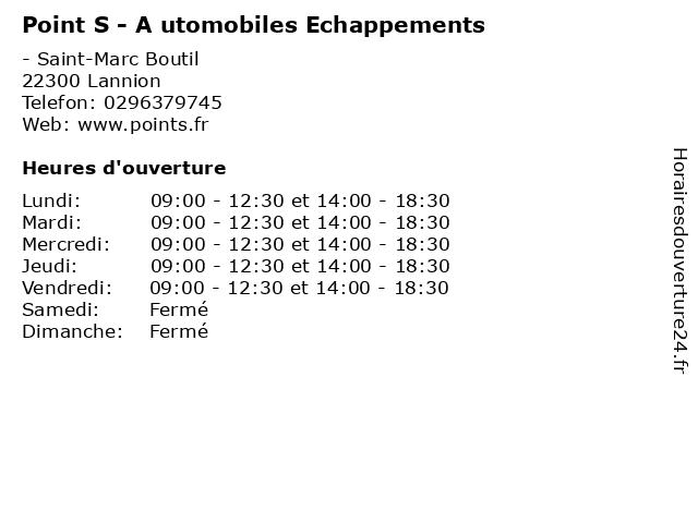Point S - A utomobiles Echappements à Lannion: adresse et heures d'ouverture