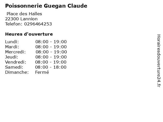 Poissonnerie Guegan Claude à Lannion: adresse et heures d'ouverture
