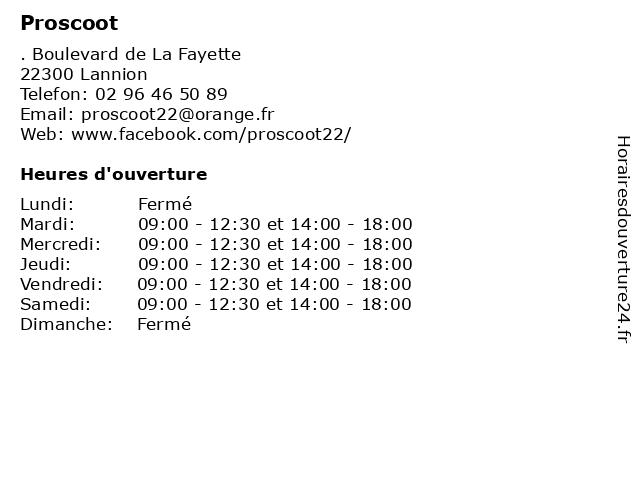 Proscoot à Lannion: adresse et heures d'ouverture