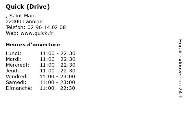 Quick (Drive) à Lannion: adresse et heures d'ouverture