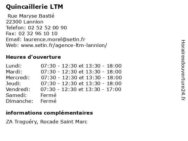 Quincaillerie LTM à Lannion: adresse et heures d'ouverture