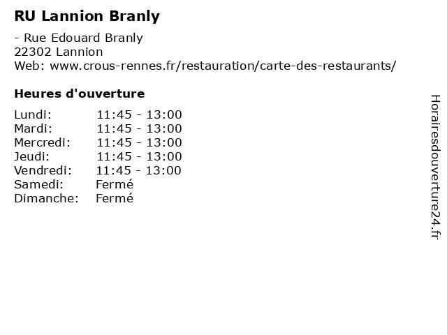 RU Lannion Branly à Lannion: adresse et heures d'ouverture