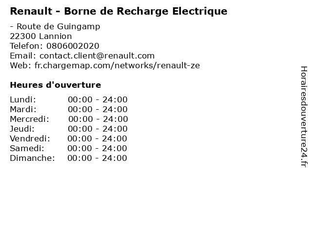 Renault - Borne de Recharge Electrique à Lannion: adresse et heures d'ouverture