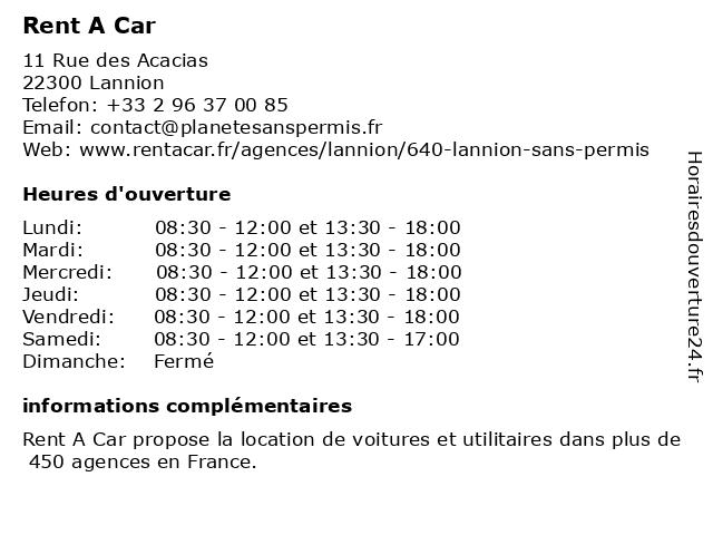 Rent A Car à Lannion: adresse et heures d'ouverture