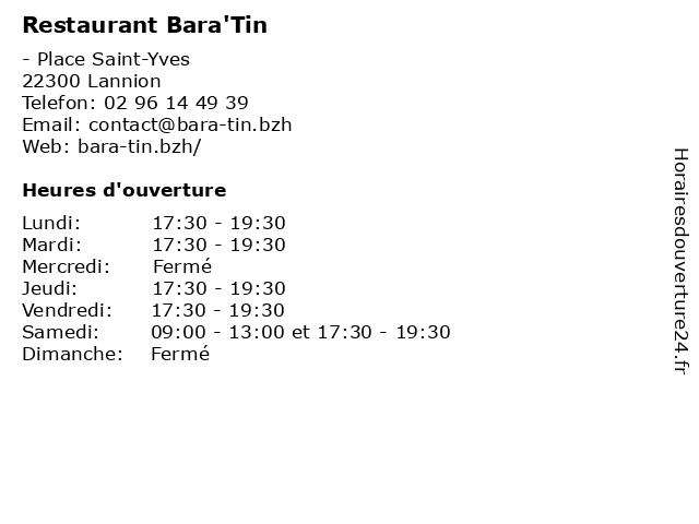 Restaurant Bara'Tin à Lannion: adresse et heures d'ouverture