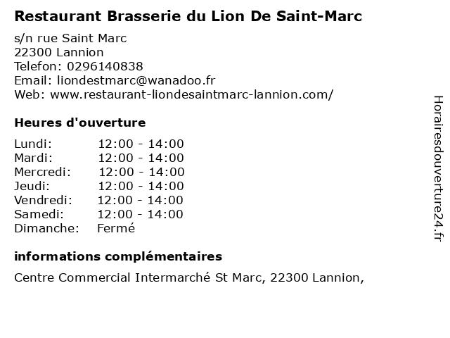 Restaurant Brasserie du Lion De Saint-Marc à Lannion: adresse et heures d'ouverture
