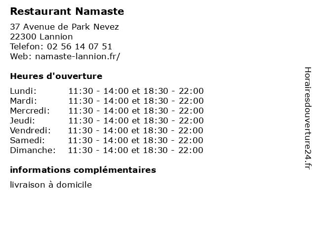 Restaurant Namaste à Lannion: adresse et heures d'ouverture