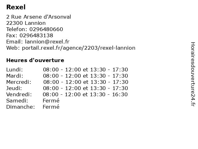 Rexel à Lannion: adresse et heures d'ouverture