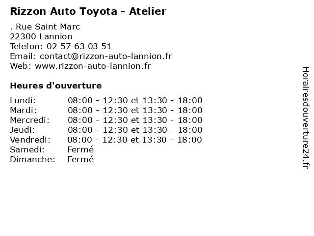 Rizzon Auto Toyota - Atelier à Lannion: adresse et heures d'ouverture