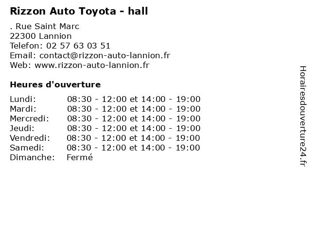 Rizzon Auto Toyota - hall à Lannion: adresse et heures d'ouverture