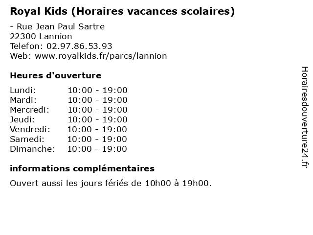 Royal Kids (Horaires vacances scolaires) à Lannion: adresse et heures d'ouverture