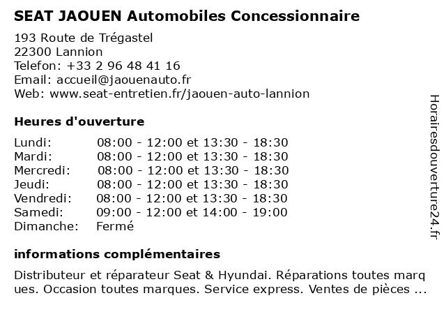 SEAT JAOUEN Automobiles Concessionnaire à Lannion: adresse et heures d'ouverture