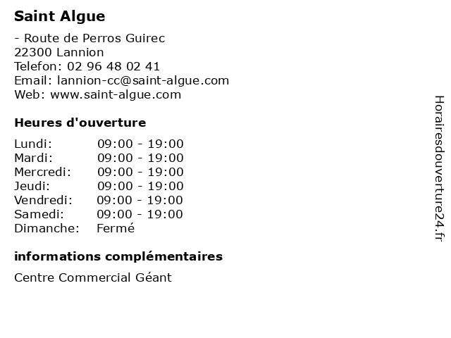 Saint Algue à Lannion: adresse et heures d'ouverture