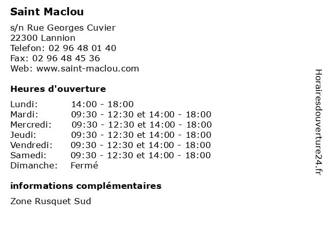 Saint Maclou à Lannion: adresse et heures d'ouverture