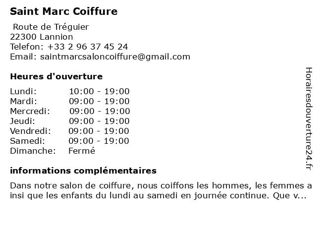 Saint Marc Coiffure à Lannion: adresse et heures d'ouverture