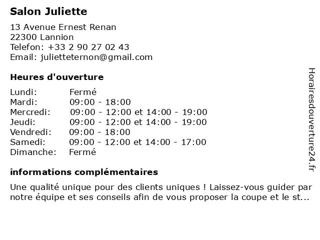 Salon Juliette à Lannion: adresse et heures d'ouverture