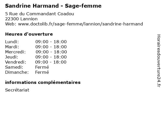 Sandrine Harmand - Sage-femme à Lannion: adresse et heures d'ouverture