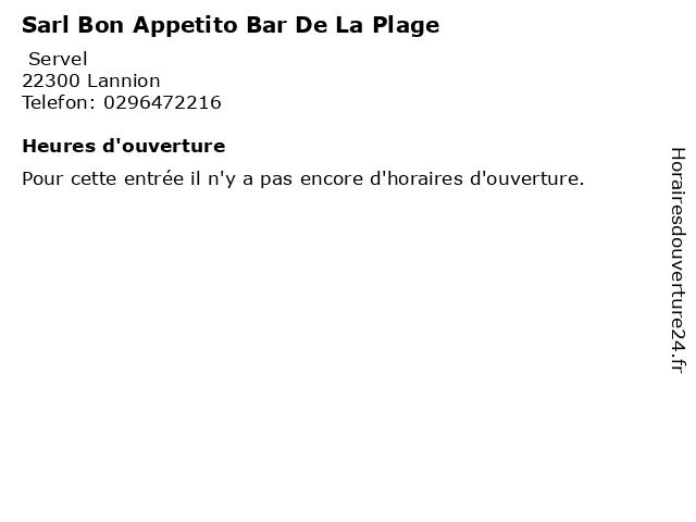 Sarl Bon Appetito Bar De La Plage à Lannion: adresse et heures d'ouverture