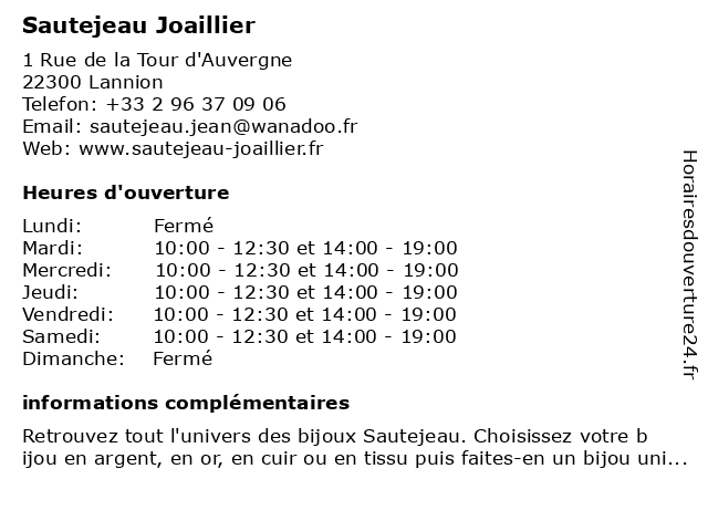 Sautejeau Joaillier à Lannion: adresse et heures d'ouverture