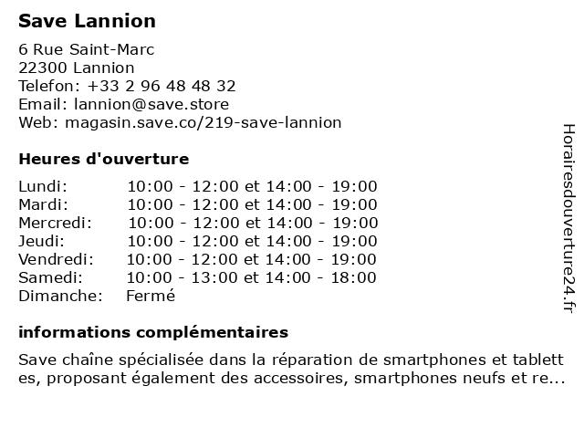 Save Lannion à Lannion: adresse et heures d'ouverture
