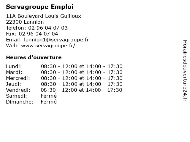 Servagroupe Emploi à Lannion: adresse et heures d'ouverture