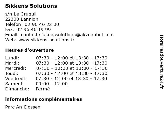 Sikkens Solutions à Lannion: adresse et heures d'ouverture