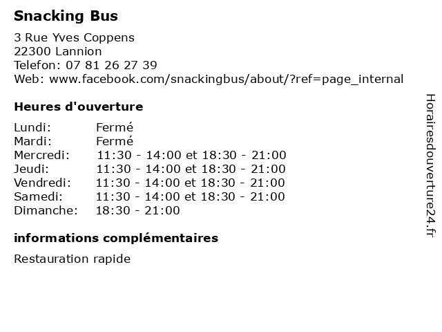 Snacking Bus à Lannion: adresse et heures d'ouverture