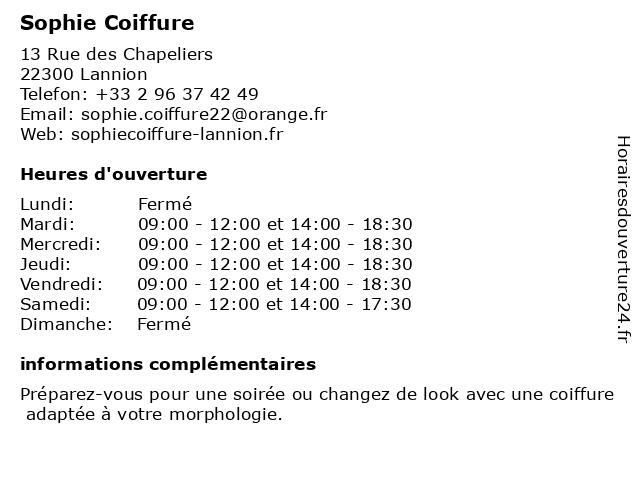 Sophie Coiffure à Lannion: adresse et heures d'ouverture