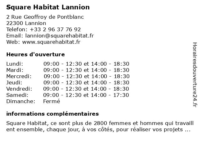 Square Habitat Lannion à Lannion: adresse et heures d'ouverture
