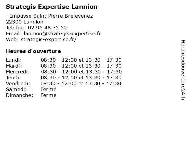 Strategis Expertise Lannion à Lannion: adresse et heures d'ouverture