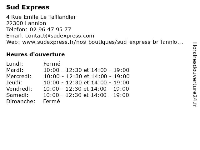 Sud Express à Lannion: adresse et heures d'ouverture