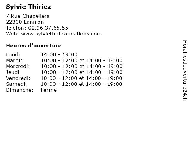Sylvie Thiriez à Lannion: adresse et heures d'ouverture