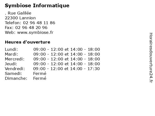 Symbiose Informatique à Lannion: adresse et heures d'ouverture