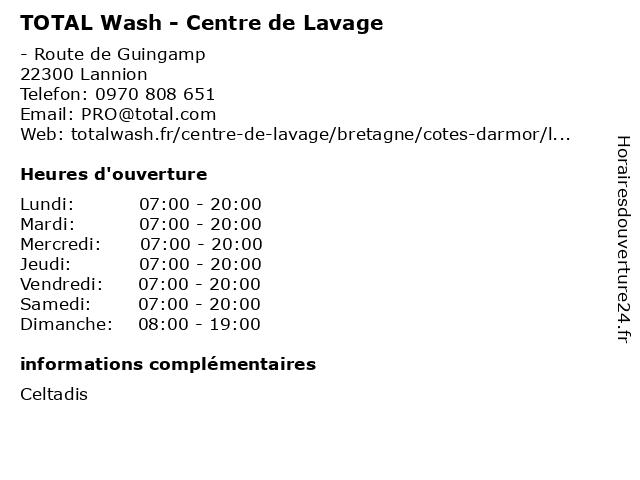 TOTAL Wash - Centre de Lavage à Lannion: adresse et heures d'ouverture