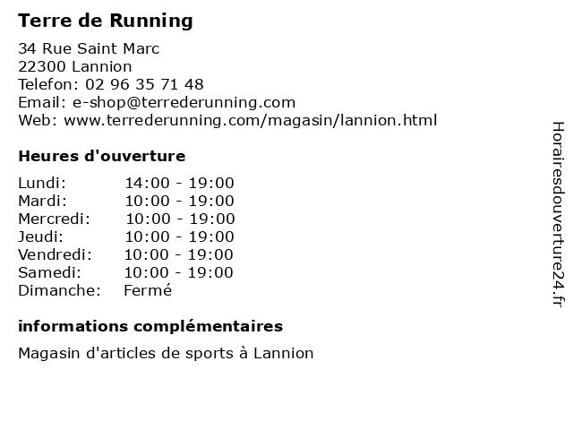Terre de Running à Lannion: adresse et heures d'ouverture