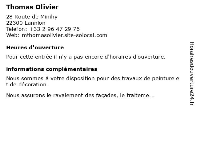 Thomas Olivier à Lannion: adresse et heures d'ouverture
