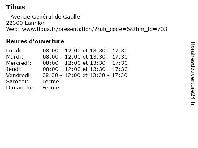 Tibus à Lannion: adresse et heures d'ouverture