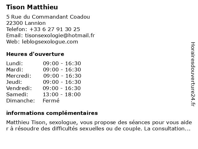 Tison Matthieu à Lannion: adresse et heures d'ouverture