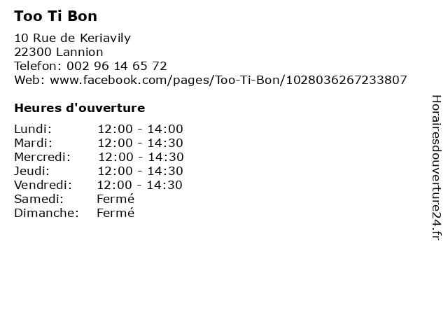 Too Ti Bon à Lannion: adresse et heures d'ouverture