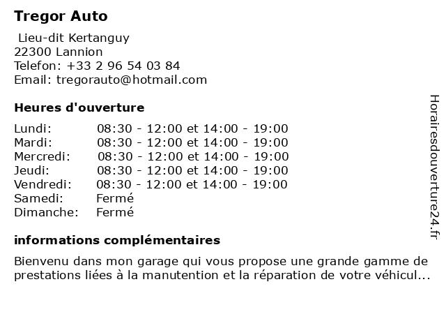 Tregor Auto à Lannion: adresse et heures d'ouverture